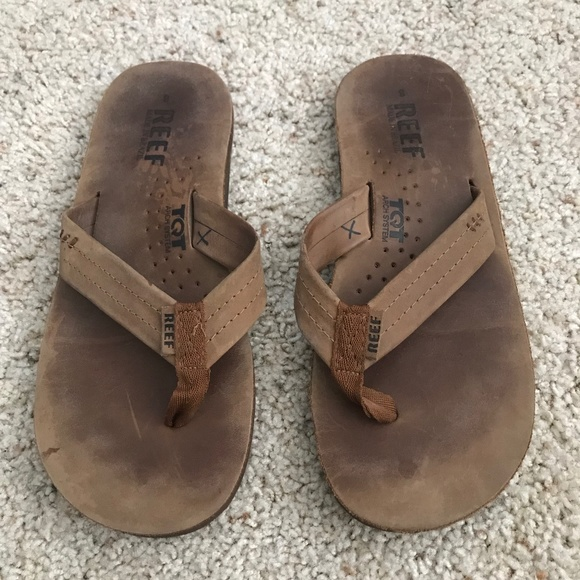 NWT Mens REEF Draftsmen Leather Flip Flops Sandals 9 10 11 Brown Bronze NEW $60